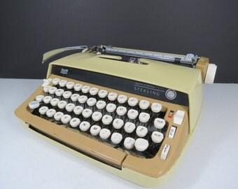Smith Corona Sterling Typewriter // Vintage Mustard Yellow Beige and Tan Manual Portable Typewriter with Case Retro Mod Decor NEEDS WORK