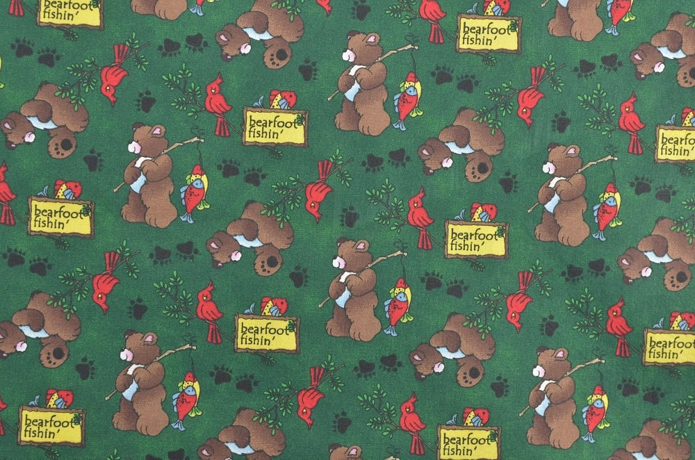 Fishing fabric bear fabric camping fabric cotton quilting for Fishing themed fabric