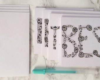 Hand Lettered Flower Coloring Blank Cards/Set of 4/Love, Happy, Best Wishes, Thanks, Thank You/Gift Set