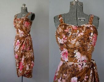 1960's Hawaiian Waltah Clarke's Tiki Sarong Dress / Size Small/Medium