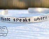 Music speaks bracelet, love music, music fan, musician gift, love rock and roll, country music, music gift, music lover, opera fan