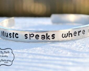 Music speaks bracelet, love music, music fan, musician gift, love rock and roll, country music, music gift, music lover, opera fan