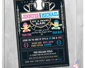 Baseball Gender Reveal Invitation, Printable Gender Reveal Invitation, Baseball Gender Baby Reveal Party, Team Pink Team Blue, He or She