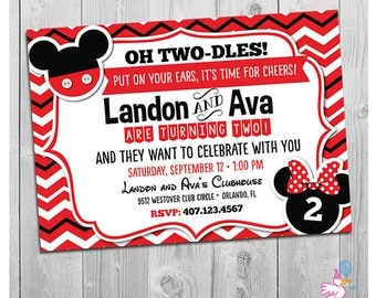 Twin Invitations, Mickey and Minnie Mouse Twin Birthday Invitations, Mickey and Minnie Mouse Birthday, Boy and Girl Twin Birthday Party