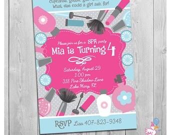 Spa Party Invitation, Spa Birthday Party, Spa Birthday Party Invitation, Printable Girls Spa Birthday Party Invite, Printable Invitation