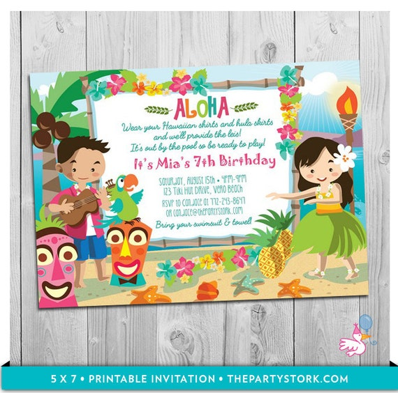 Luau Party Invitation Printable Girls Birthday Hawaiian Luau Party