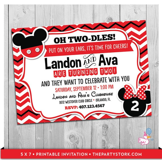 Twin Invitations Mickey and Minnie Mouse Twin Birthday Invitations