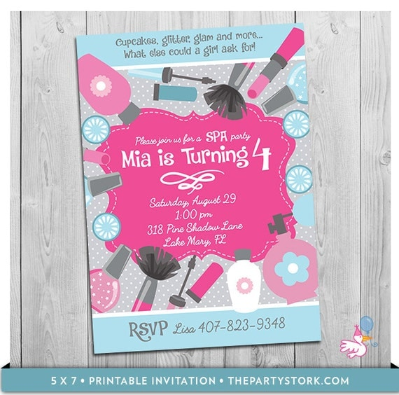 Spa party invitation spa birthday party spa birthday party il570xn filmwisefo Image collections