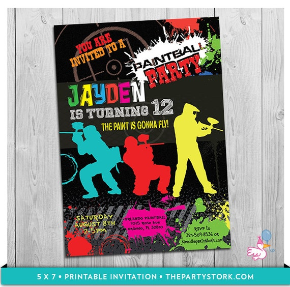 paintball invitation, paintball party, paintball birthday party, Birthday invitations