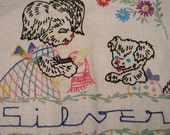 Embroidered Dog and Puppy Tea Towel, Multi-Colored Vintage Home Decor