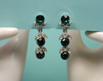 Lisner Emerald Green Rhinestone Clip On Drop Earrings, Elegant, Feminine