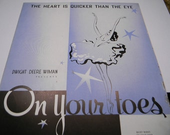 On Your Toes Sheet Music, 1936 Blue Dancer Cover, Lorenz Hart , Richard Rodgers