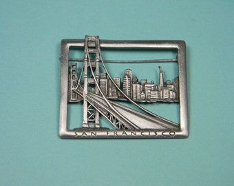 San Francisco Golden Gate Bridge and Cityscape, JJ Brooch or Pin, Pewter Tone, Signed