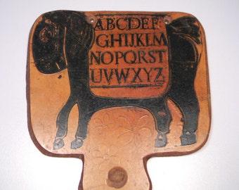 Leather Alphabet Practice Board, Horse Design, Vintage Home