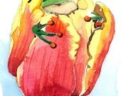 ACEO PRINT (2/25) of an original watercolor painting- Frog and tulip, Gift idea for animal lovers, Animal art, Housewarming gift idea