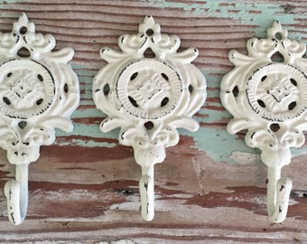 Decorative Hook /White/Cream / Distressed / Home Organization /  Set of 3 Wall Hooks  / Key Hook