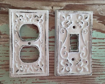 Light Switch Cover - Fleur de Lis Cover - White Light Switch Cover - Decorative Outlet Cover -  Shabby Chic - Coastal