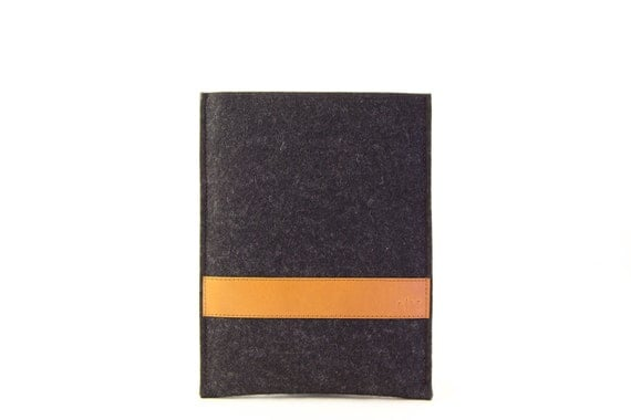 Simple IPAD MINI CASE with leather band / iPad mini sleeve / wool felt / vegetable tanned leather / handmade in Italy