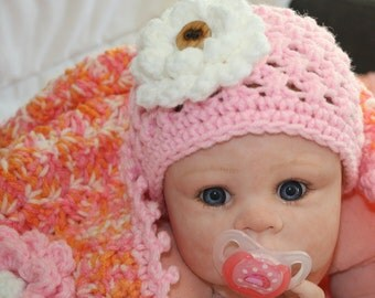 SALE !! -  baby blanket  and 2 hats - Stroller Blanket Set, Car seat blanket, flower beanie - Ready to Ship!