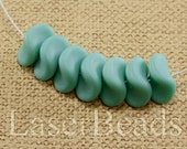 20pc Turquoise blue beads 9mm |  Frosted Blue glass beads | Chain beads Czech Glass | Matte Opaque Blue beads