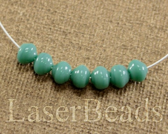 50pc Turquoise blue beads 6mm |  Blue glass beads | Turquoise round Czech Glass | Opaque Blue beads Potato