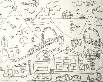 Kids coloring page city