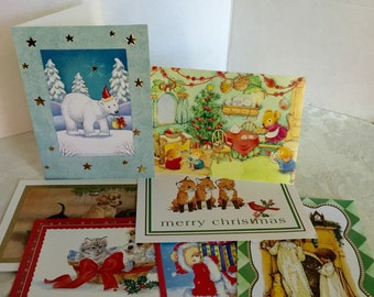 Christmas Cards for Crafters Cute Animals and Kids Card Stock for Scrap Booking and Paper Crafts