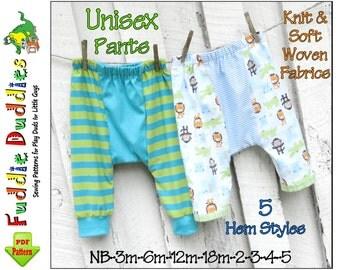 Easy Boy's Harem Style Pants Pattern. Baby Pants Pattern. Infant Pants Pattern, Boy's Sewing Pattern. Unisex Infant Sewing Pattern. NB-5yrs