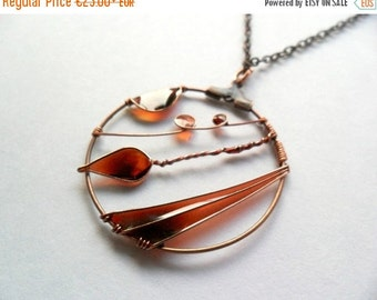 AUGUST SALE 20% Leaf pendant, fall autumn necklace, copper wire wrapped jewelry, free shipping