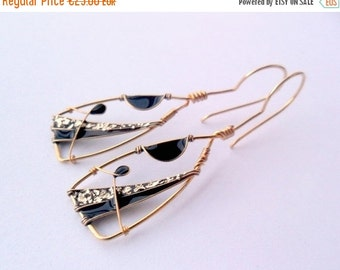 Triangle gold black earrings, modern geometric earrings, free shipping, gold plated wire earrings, resin and gold foil jewel