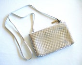 ON SALE Glowing Vintage Silver Mesh Whiting Davis Evening Bag Clutch Bag Strap Elegant Dressy Glittery Glitz and Glam Gift for Her Birthday