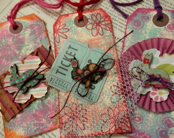 3 LARGE TAGS Mixed Media Rabbit Bunny Embellishment Pink Red Aqua Blue Purple