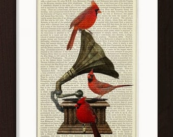 Bird Print Red Cardinal Birds On Gramophone print on vintage (1870's) upcycled book page