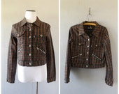 Plaid Levis Grunge Jacket Vintage 90s Red Black Button Down Trucker Coat Womens Large Hipster Punk Rocker Top Shirt 1990s Silver Tab Boho