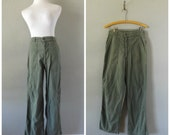 Military Army Green Pants Vintage 70s High Waisted Cotton Trousers Mens Womens Size 27 Waist Hippie Boho Wide Leg Pant 1970s Bohemian Dress