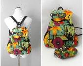 Tropical Mini Backpack Purse Vintage 90s Hawaiian Floral Print Small Handbag Purse Matching Coin Purse 1990s Summer Tote Beach Bag Hippie