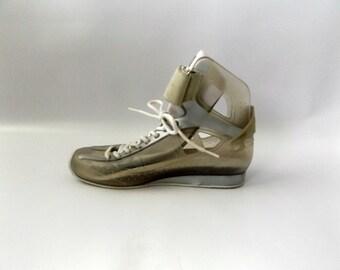 90s Rubber Hi Top Tennis Shoes Vintage Clear Fashion Athletic Jellies US Womens Size 8 Retro Hip Hop Ladies Lace Up Shoe 1990s Club Kid Shoe