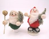 Vintage Christmas Elves Spun Cotton Cardboard Elf Decorations 1960s