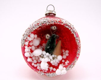 Vintage Glass Diorama Christmas Ornament Tree And Cottage Scene 1950s Red Holiday Bauble