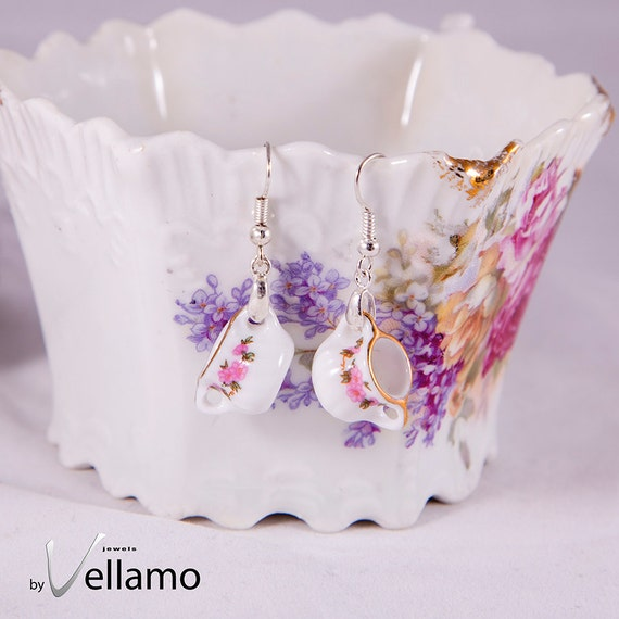 Delicate silver plated earrings with white miniature porcelain tea set pieces, cute shabby chic style tea pot earrings, fashion jewelry