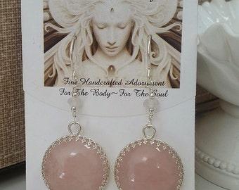 Pastel Rose Quartz Round Sterling Silver Earrings E-0428
