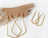 Rhia || Hammered Brass || Geometric Hoop Earrings || Sterling Silver Earring Hooks