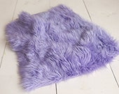 SALE -- Lavender Faux Fur Small Basket Stuffer or Rug - Perfect Newborn Photography Prop - Ready to Ship