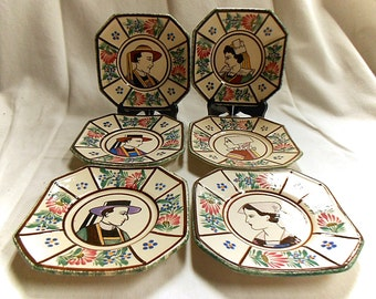 HB Quimper Pottery Set of 6 Breton Folk Dessert Plates (C135)