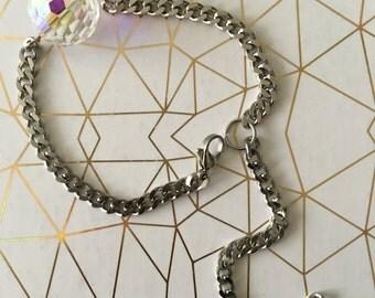 Aurora borelis Swarovski crystal pearl stainless steel shiny chain bracelet