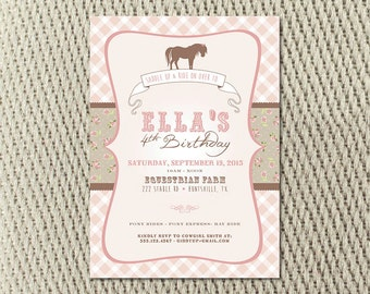 Shabby Chic Soft Pink and Brown Saddle Up Horse Party Invitation: Digital