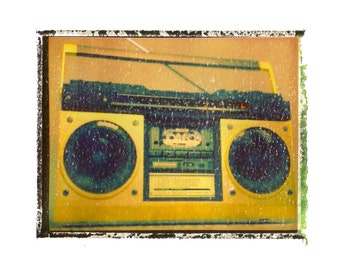 Boombox music art print / music gift / rock n roll art / music room decor / guitar gift / man cave art