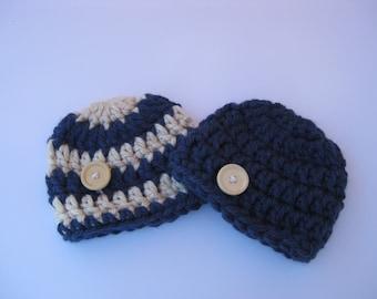 Crochet baby hat, Navy and Ivory ,newborn baby hat,baby boy hat,baby girl hat,newborn prop,baby newborn hat,baby beanie,boy beanie,girl