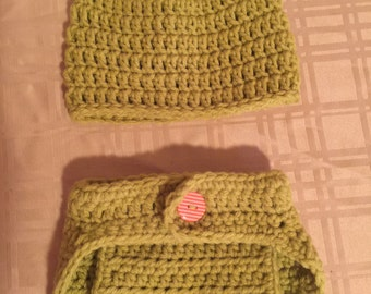0-3 Mo Hat & Diaper Cover Set