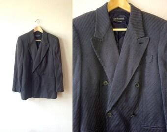 SALE Giorgio Armani Rare Double-Breasted Woven Navy Dinner Jacket Blazer Mens 38 Vintage Menswear